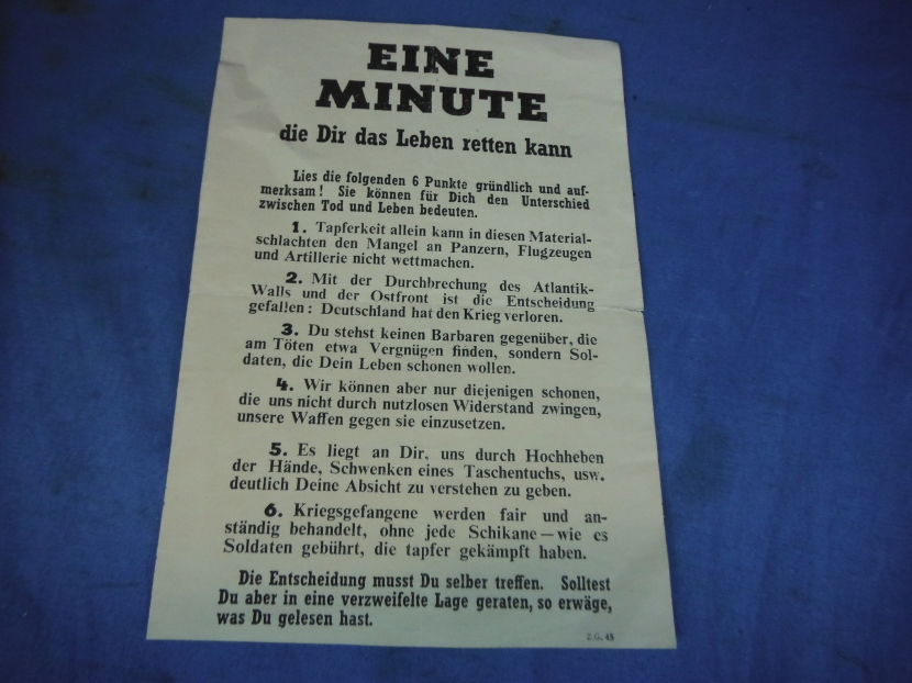 UWP-0115 WWII US Propaganda Leaflet Dropped to German Soldiers